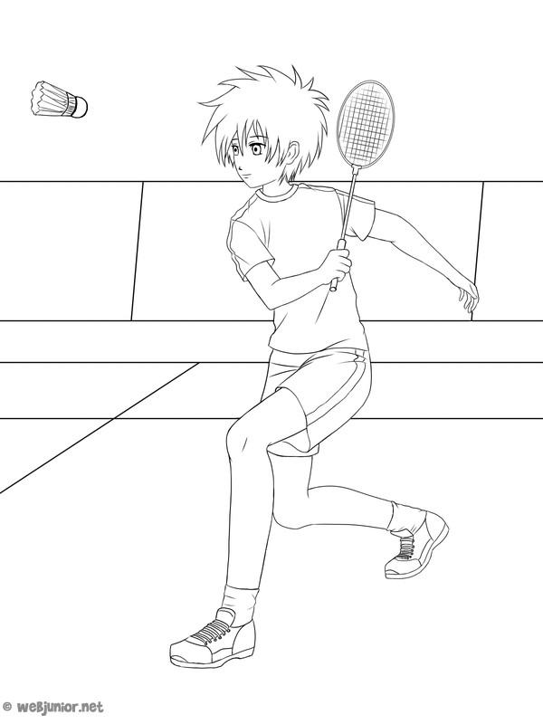 Coloriage et dessins gratuits Badminton dessin animé à imprimer