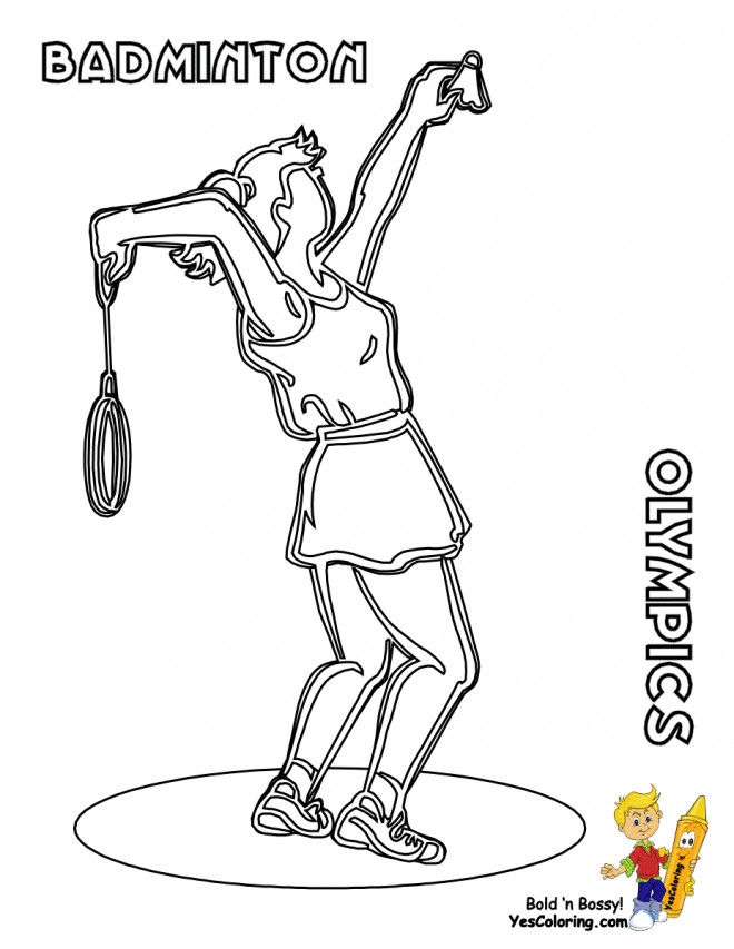 Coloriage et dessins gratuits Badminton jeu Olympique à imprimer