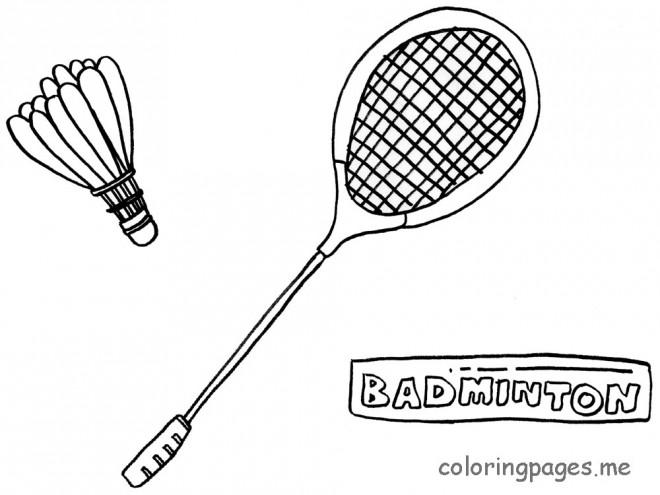 Coloriage et dessins gratuits Badminton Raquette et Volant en noir à imprimer