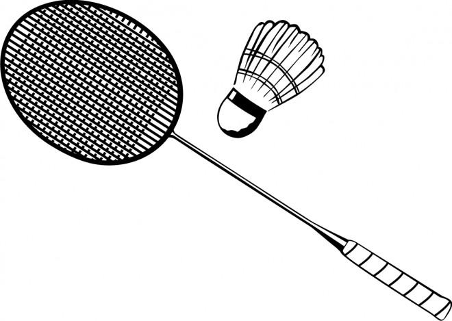 Coloriage et dessins gratuits Badminton stylisé en noir et blanc à imprimer