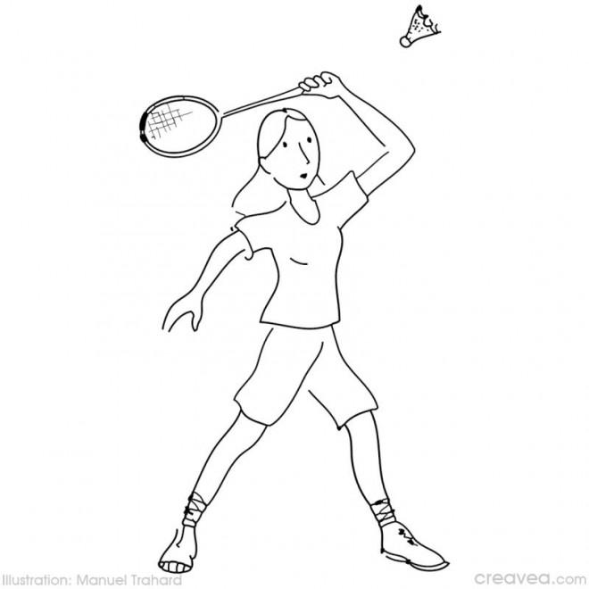 Coloriage et dessins gratuits Femme joue au Badminton à imprimer