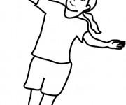 Coloriage Fille qui joue au Badminton