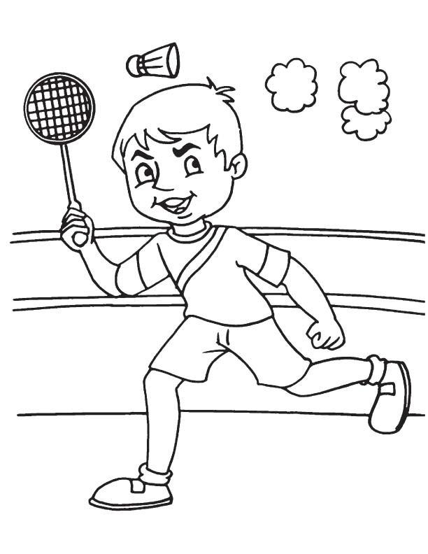 Coloriage et dessins gratuits Joueur Badminton pendant le match à imprimer
