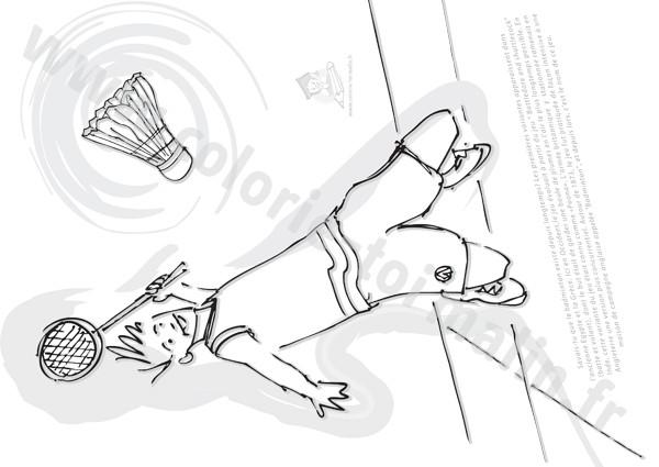 Coloriage et dessins gratuits Joueur de Badminton à découper à imprimer
