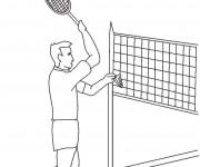 Coloriage Joueur de Badminton en match