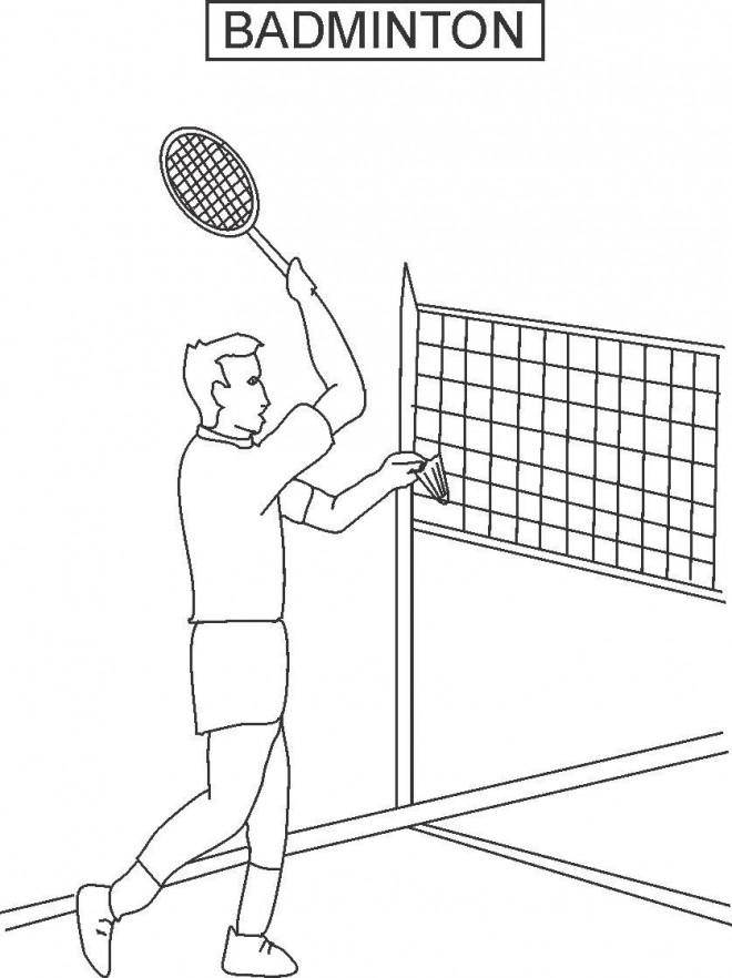 Coloriage et dessins gratuits Joueur de Badminton en match à imprimer