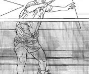 Coloriage Joueur de Badminton et Filet