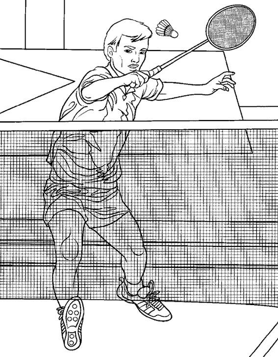 Coloriage et dessins gratuits Joueur de Badminton et Filet à imprimer
