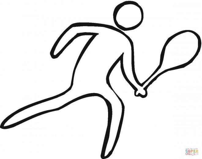 Coloriage et dessins gratuits Joueur de Badminton simplifier à imprimer
