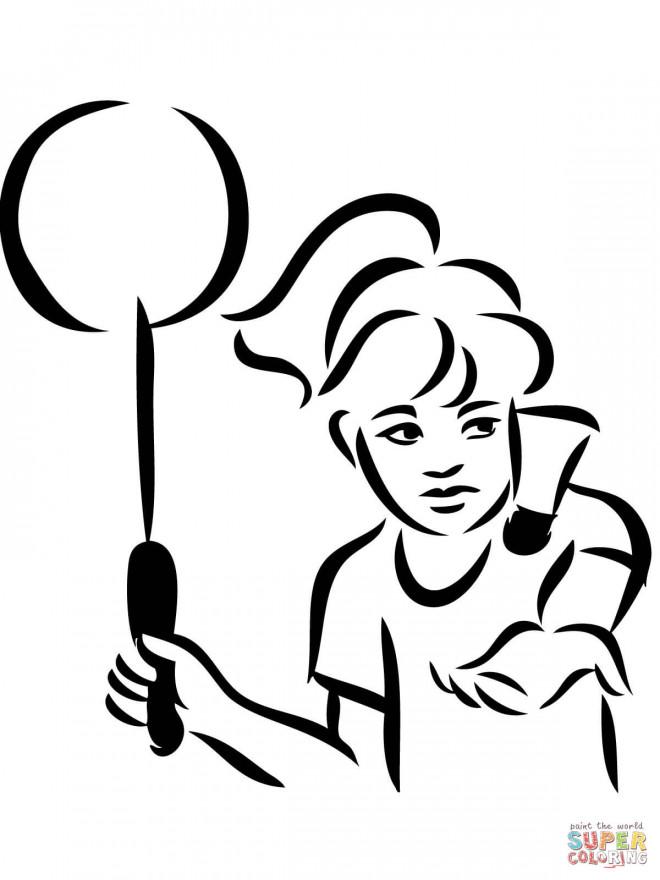 Kleurplaat T Shirt Coloriage Joueur De Badminton Vecteur Dessin Gratuit 224