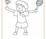 Coloriage et dessins gratuit Joueur mignon de Badminton à imprimer