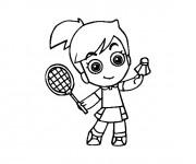 Coloriage Petite joueur Badminton