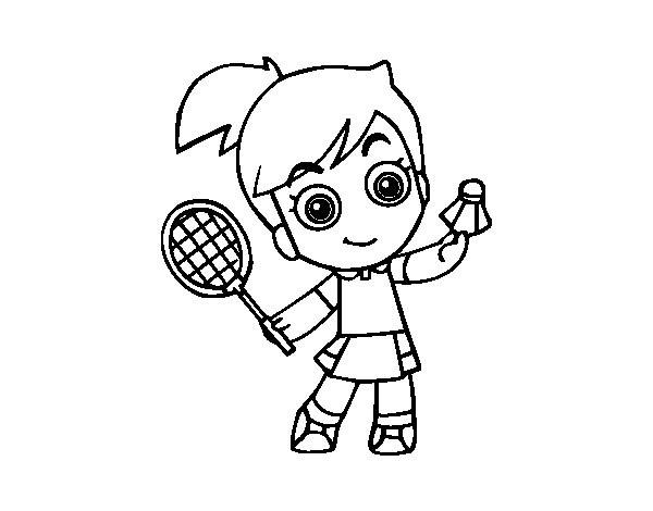 Coloriage et dessins gratuits Petite joueur Badminton à imprimer