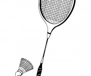 Coloriage Raquette de Badminton simple