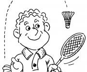 Coloriage Raquette et Volant de Badminton