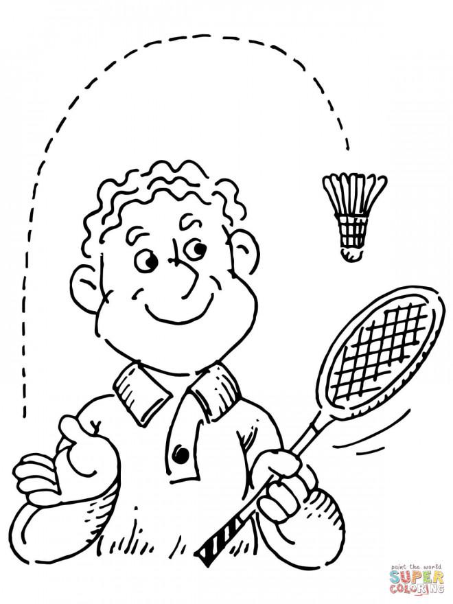 Coloriage et dessins gratuits Raquette et Volant de Badminton à imprimer