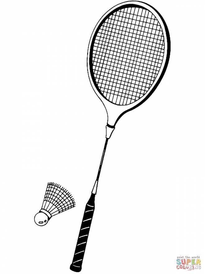 Coloriage et dessins gratuits Raquette et volant de badminton simple à imprimer
