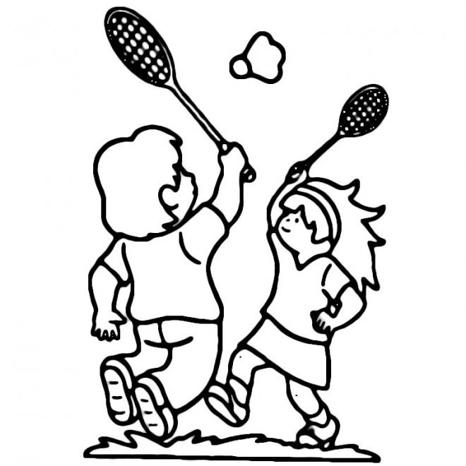 Coloriage et dessins gratuits Sport Badminton maternelle à imprimer