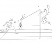 Coloriage Sport de Badminton en noir et blanc