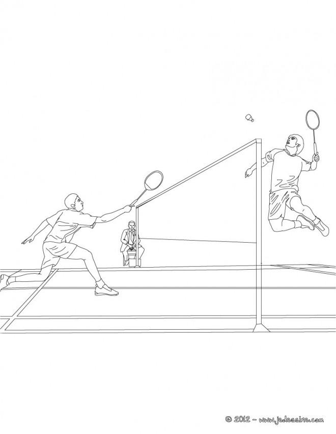 Coloriage et dessins gratuits Sport de Badminton en noir et blanc à imprimer