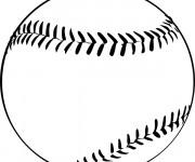 Coloriage et dessins gratuit Balle Baseball en noir à imprimer