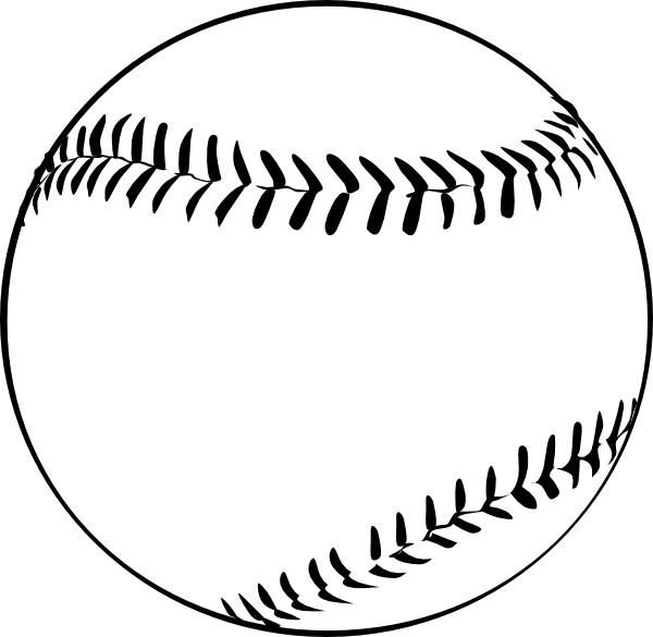 Coloriage et dessins gratuits Balle Baseball en noir à imprimer