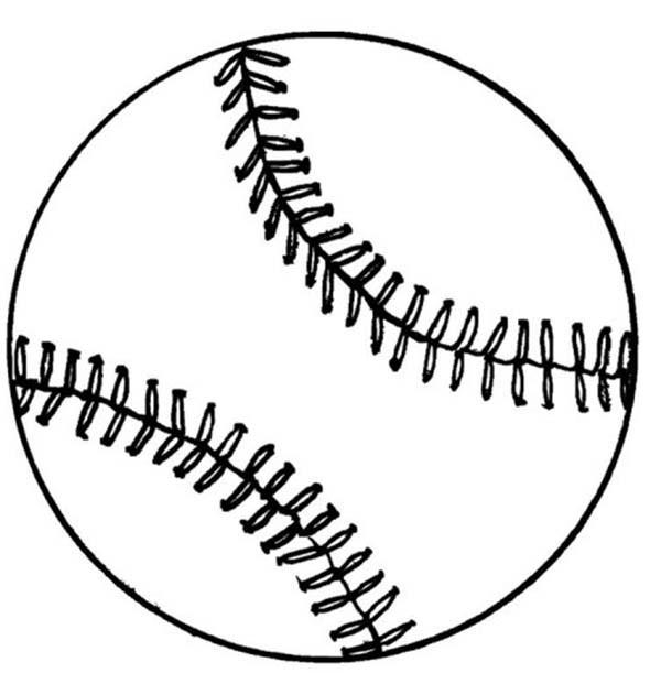 Coloriage et dessins gratuits Balle Baseball stylisé à imprimer