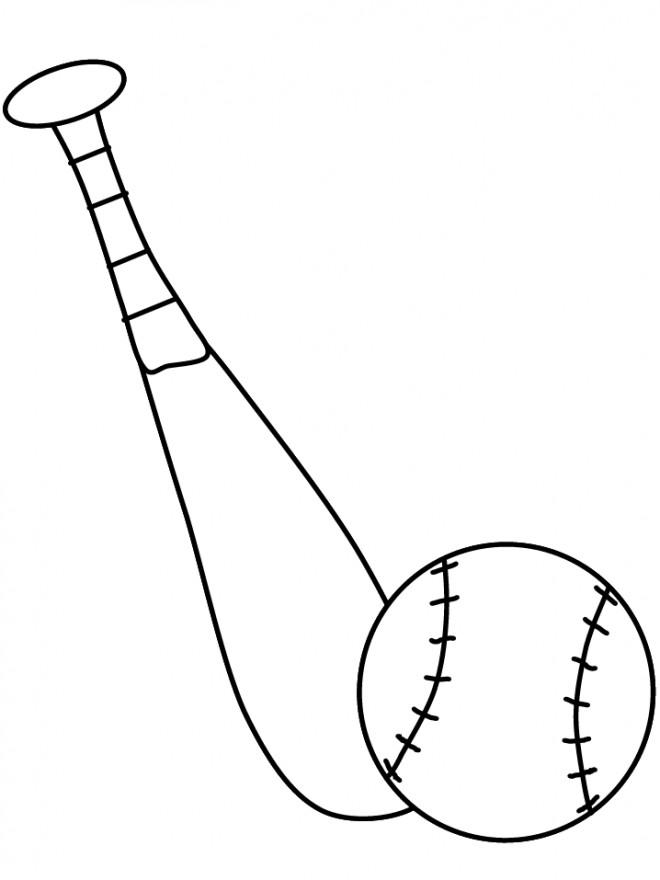 Coloriage et dessins gratuits Batte et Balle Baseball à imprimer
