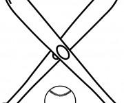Coloriage Battes de Baseball croisés