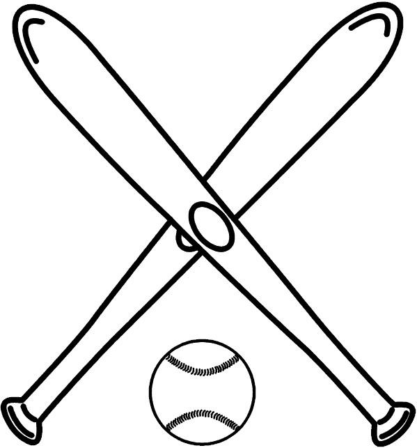 Coloriage et dessins gratuits Battes de Baseball croisés à imprimer