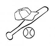 Coloriage Casque Batte et Balle de Baseball