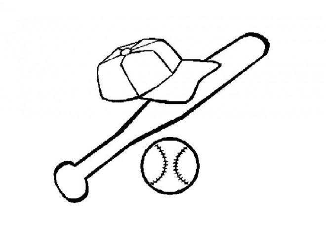Coloriage et dessins gratuits Casque Batte et Balle de Baseball à imprimer