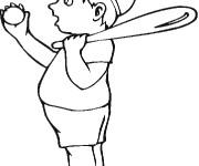 Coloriage Enfant portant la balle et batte de Baseball