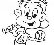 Coloriage Enfant qui joue au Baseball