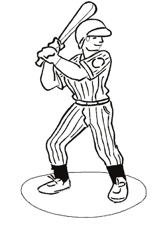 Coloriage et dessins gratuits Frappeur Baseball attend la balle à imprimer
