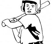 Coloriage et dessins gratuit Frappeur Baseball en noir à imprimer