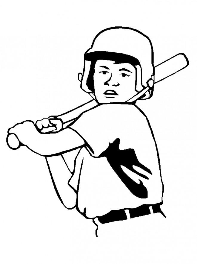 Coloriage et dessins gratuits Frappeur Baseball en noir à imprimer