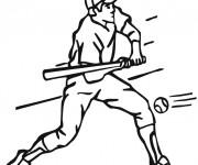 Coloriage Frappeur Baseball et balle rapide