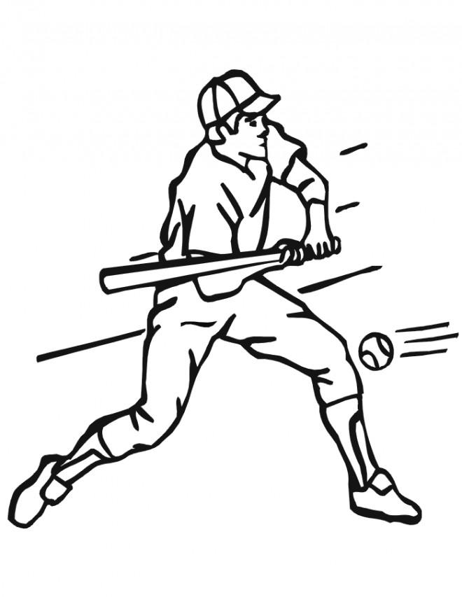 Coloriage et dessins gratuits Frappeur Baseball et balle rapide à imprimer