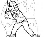 Coloriage Frappeur de Baseball aperçoit la balle