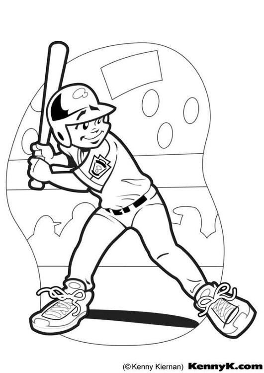 Coloriage et dessins gratuits Frappeur de Baseball aperçoit la balle à imprimer