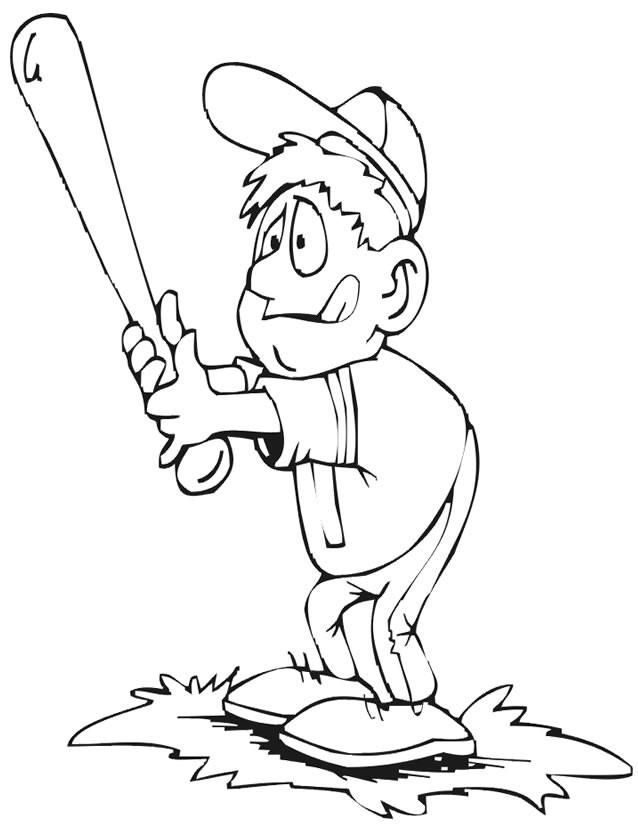 Coloriage et dessins gratuits Frappeur de Baseball comique à imprimer