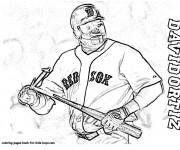 Coloriage Frappeur de Baseball de Red Sox