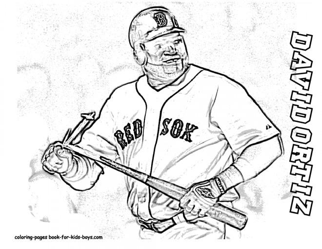Coloriage et dessins gratuits Frappeur de Baseball de Red Sox à imprimer