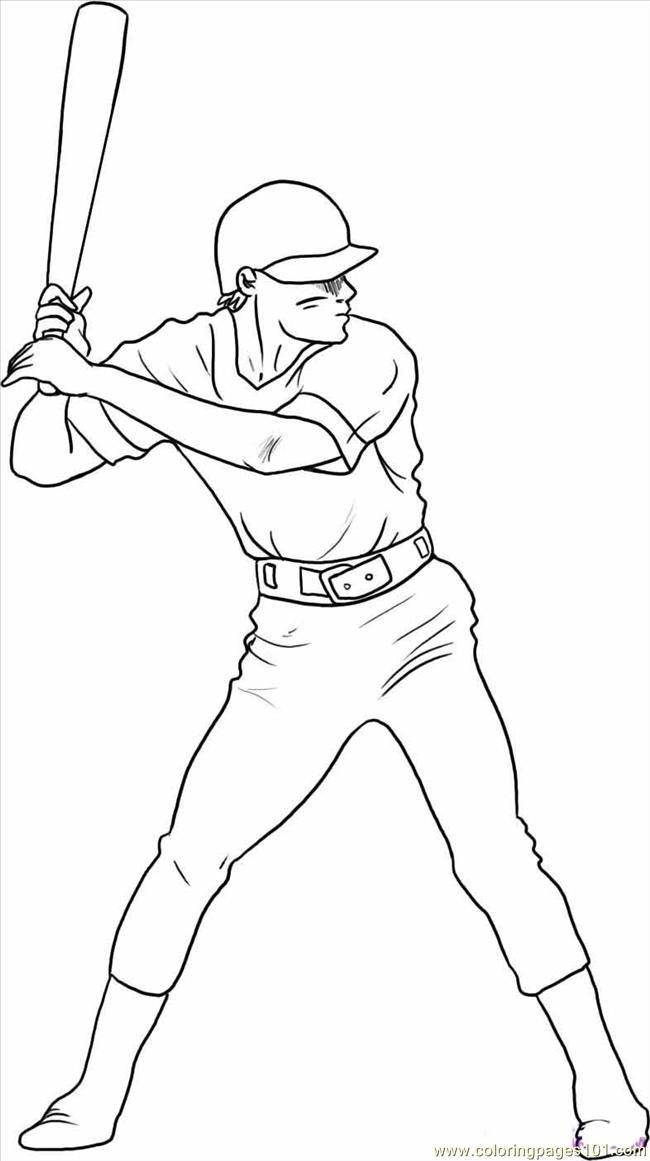 Coloriage et dessins gratuits Frappeur de Baseball maternelle à imprimer