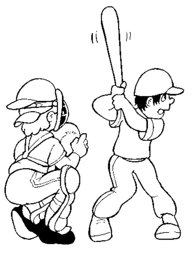 Coloriage et dessins gratuits Frappeur de Baseball pendant le match à imprimer