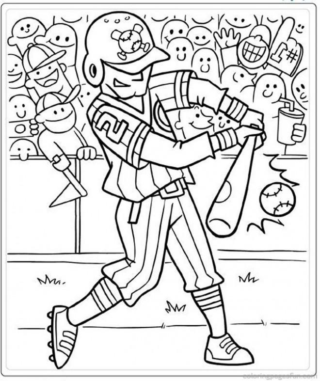Coloriage et dessins gratuits Frappeur de Baseball professionnel à imprimer