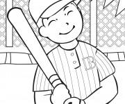Coloriage et dessins gratuit Frappeur de Baseball qui sourit à imprimer