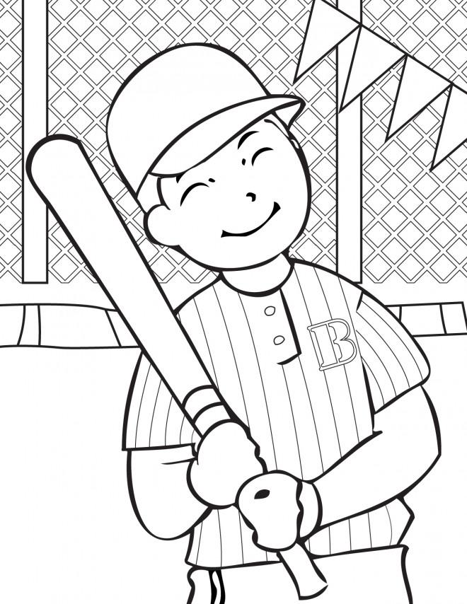 Coloriage et dessins gratuits Frappeur de Baseball qui sourit à imprimer