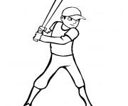 Coloriage Frappeur de Baseball vecteur